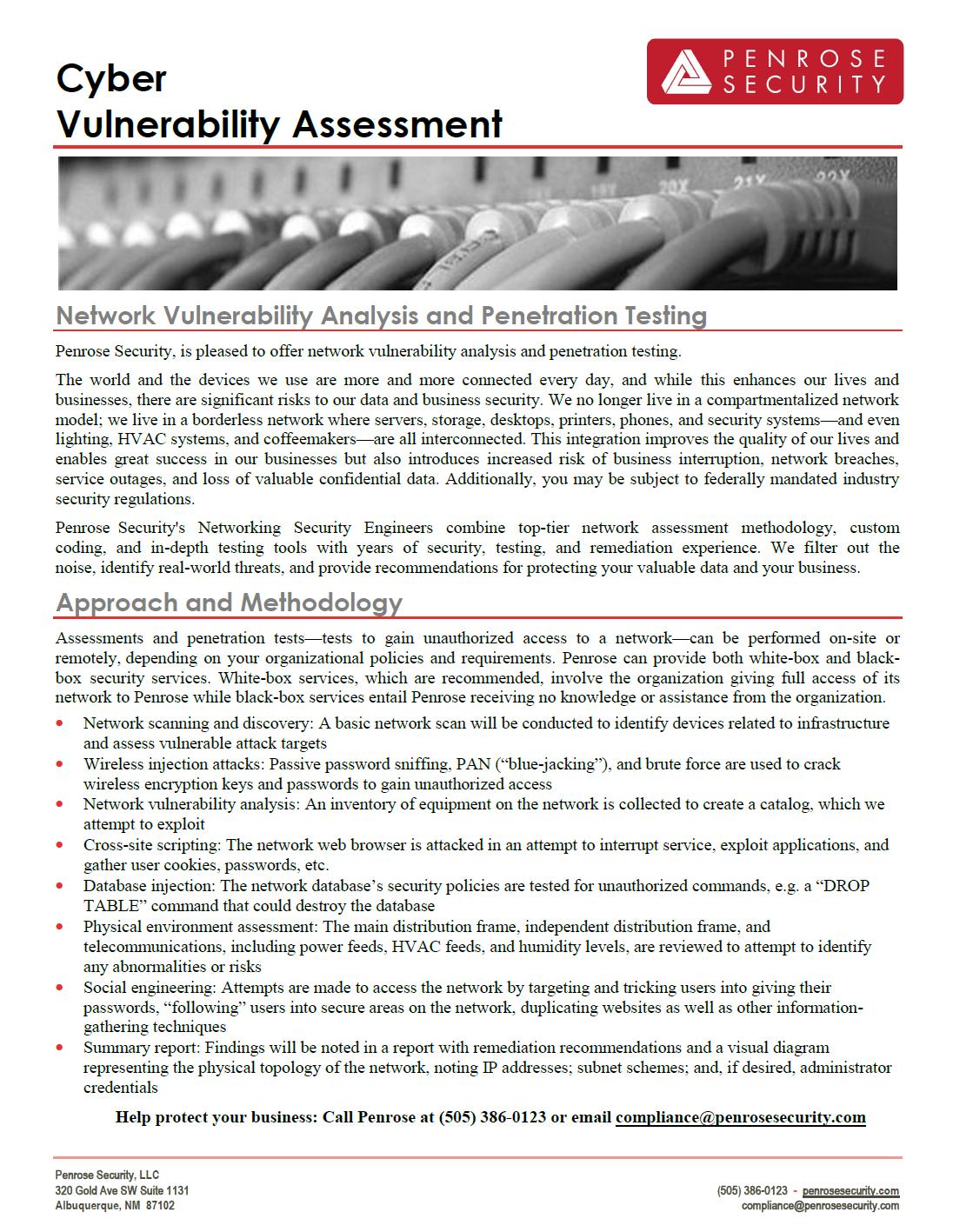 Cyber Vulnerability Assessment